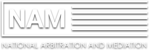 NAM (National Arbitration and Mediation) company logo in white