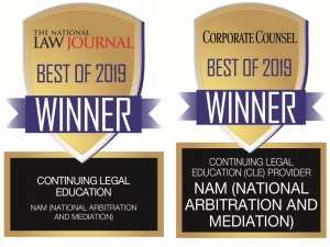 NAM Continuing Legal Education Badges, The National Law Journal Best of 2019 Winner and Corporate Counsel Best of 2019 Winner